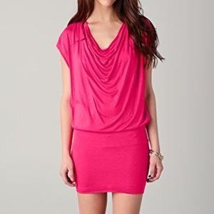 Alice & Olivia cowl neck drape dress stretch pink